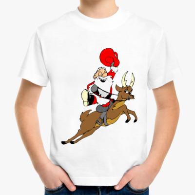 Детская футболка Сант Клаус на олене
