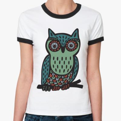 Женская футболка Ringer-T Сова