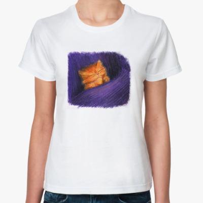 Классическая футболка Кот и девушка