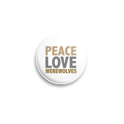 Значок 25мм  love peace...