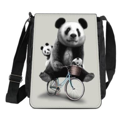 Сумка-планшет Панды на велосипеде