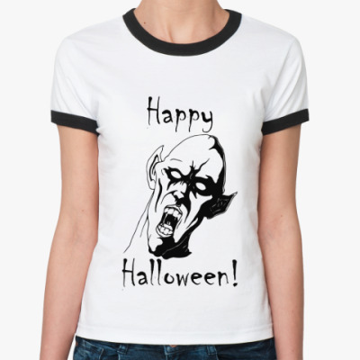 Женская футболка Ringer-T Happy Halloween!