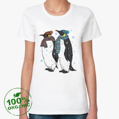 Женская футболка из органик-хлопка Новогодние пингвины в шапках