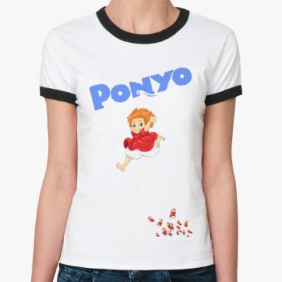 Женская футболка Ringer-T Ponyo #3  Ж(ёрн)