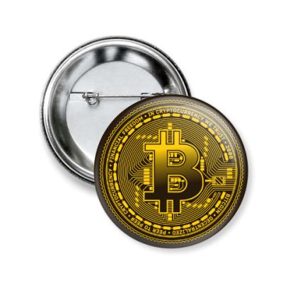 Значок 50мм Bitcoin BTC Coin