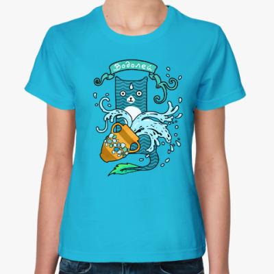 Женская футболка Котик по гороскопу Водолей