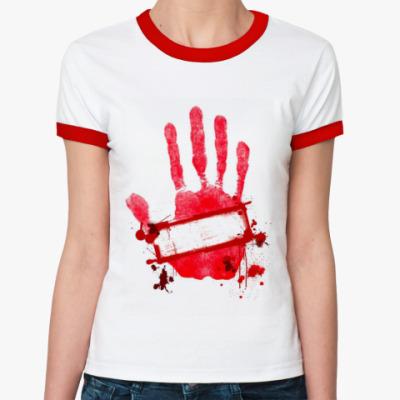 "Женская футболка Ringer-T  жен. ""Стоп"""