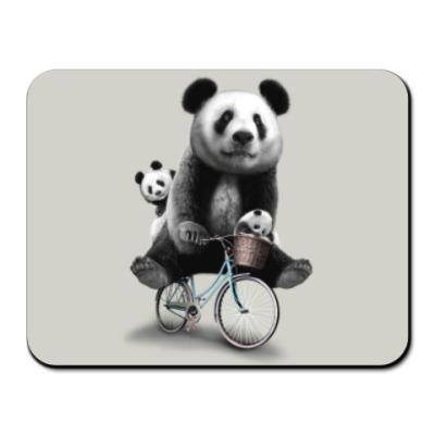 Коврик для мыши Панды на велосипеде