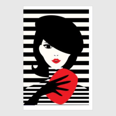Постер Француженка, фэшн иллюстрация