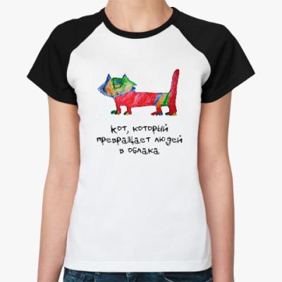 Женская футболка реглан кот