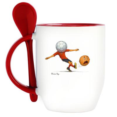 Кружка с ложкой Тыква Футбол soccer