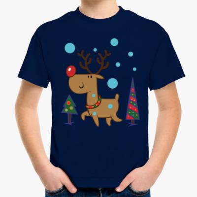 Детская футболка Олень и ёлки