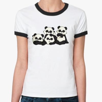 Женская футболка Ringer-T  Четыре панды