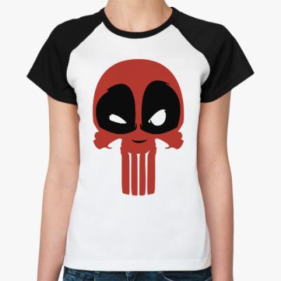 Женская футболка реглан Дэдпул Каратель / Deadpool