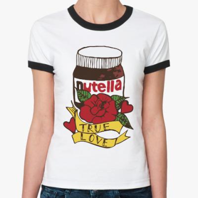 Женская футболка Ringer-T Nutella Нутелла Шоколад