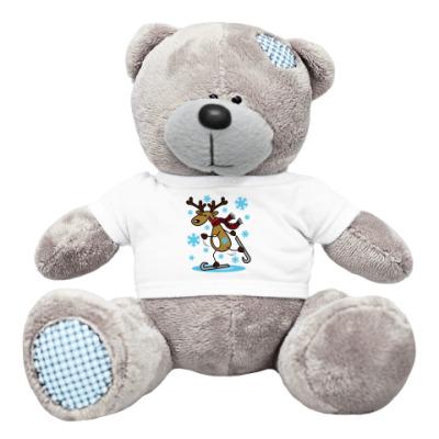 Плюшевый мишка Тедди Олень на коньках