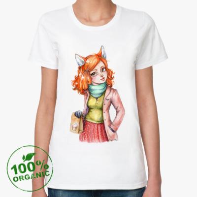 Женская футболка из органик-хлопка Лисичка