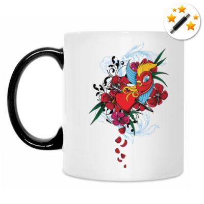 Кружка-хамелеон Птичка и сердце со стрелой