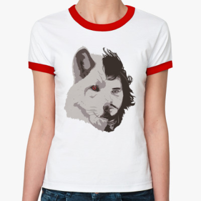 Женская футболка Ringer-T Волк Джон Сноу