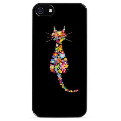 Чехол для iPhone Кот в цветах