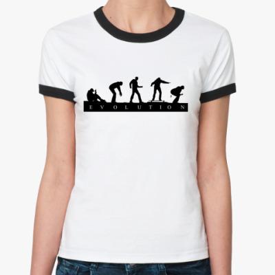 Женская футболка Ringer-T 'Evolution'