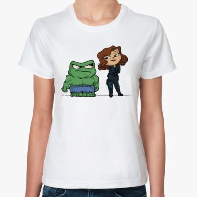 Классическая футболка Халк и Черная Вдова
