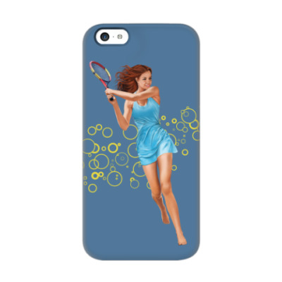 Чехол для iPhone 5c Девушка с теннисной ракеткой