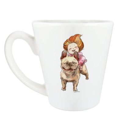 Чашка Латте Девочка и бульдог