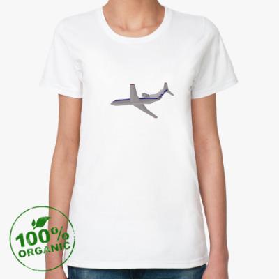 Женская футболка из органик-хлопка Самолет