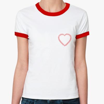 Женская футболка Ringer-T Бинарная любовь