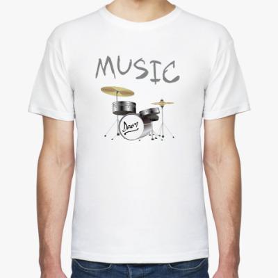 Футболка Музыка: ударная установка и барабаны. Задай ритм!