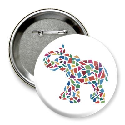 Значок 75мм Слон - мозаика