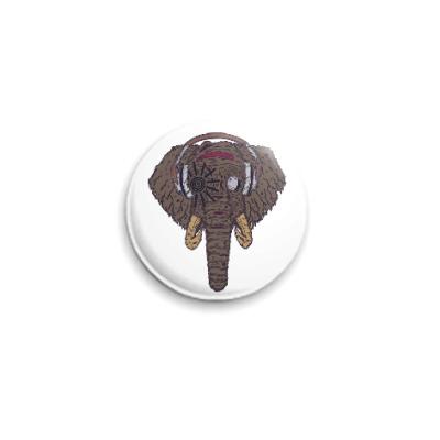 Значок 25мм Слон в наушниках
