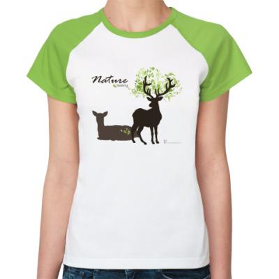 Женская футболка реглан Олени