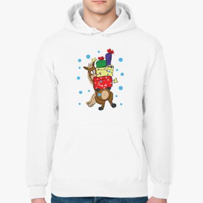 Толстовка худи Новогодняя лошадь с подарками