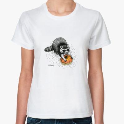 Классическая футболка Енот с тыквой