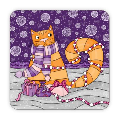 Костер (подставка под кружку) Подставка Зимний кот