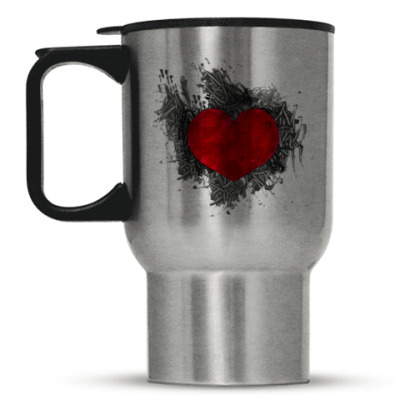 Кружка-термос Сердце в краске