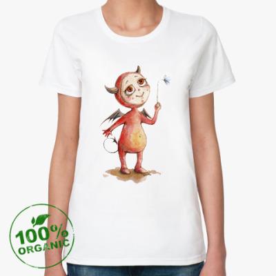 Женская футболка из органик-хлопка Чертенок