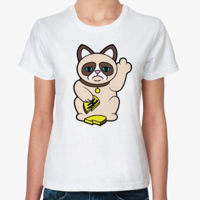 Классическая футболка Tard Grumpy Cat Maneki Neko