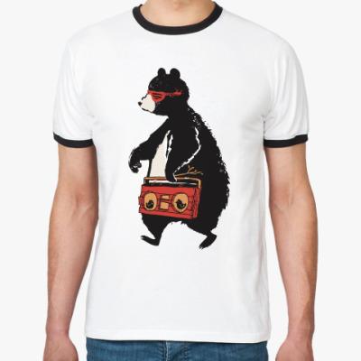 Футболка Ringer-T Медведь с магнитофоном
