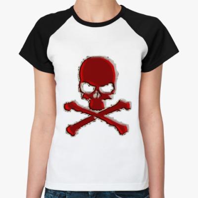 Женская футболка реглан SKULL