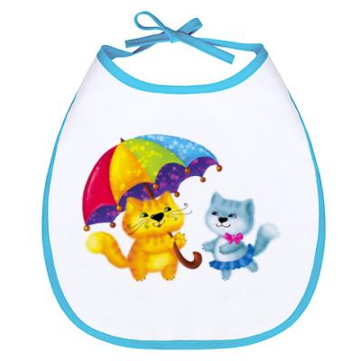 Слюнявчик Котята с зонтом