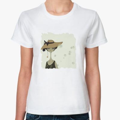 Классическая футболка Девочка в шляпке