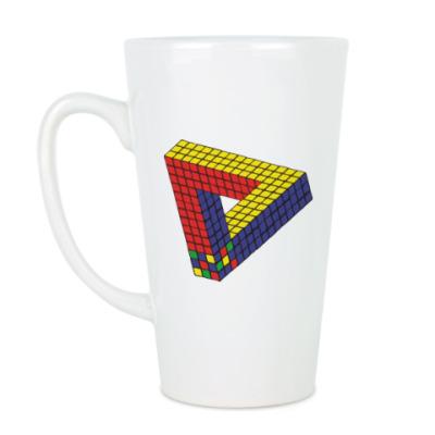Чашка Латте Оптическая иллюзия «Кубик Рубика»