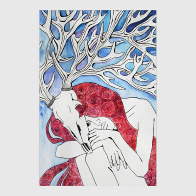Постер Девушка с рогами оленя