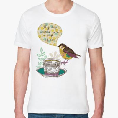 Футболка из органик-хлопка My day starts with cup of tea
