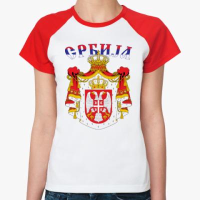Женская футболка реглан Большой герб Сербии