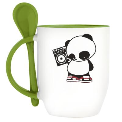 Кружка с ложкой Панда с магнитофоном