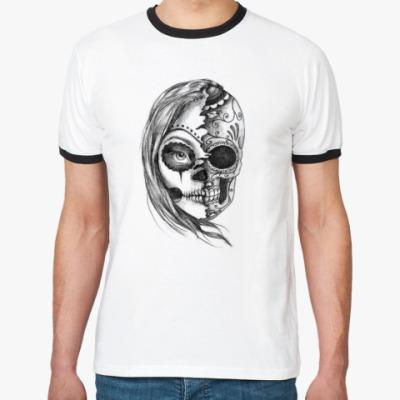 Футболка Ringer-T Зомби девушка, Zombie Girl, Ужасы, Скелет, Лицо